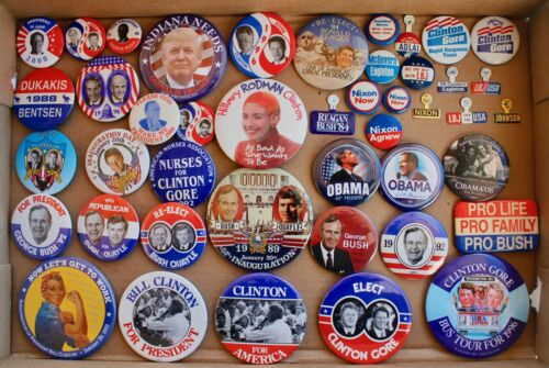Political Button/Tab collection, 44 Clinton, Bush, Reagan, Nixon, LBJ, Adlai