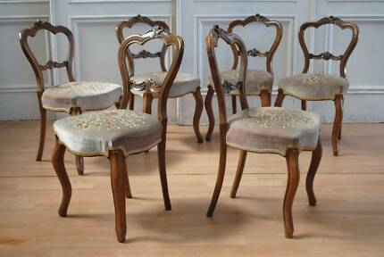 Elegant Set 6 Antique Victorian Walnut Buckle Back Dining Chairs