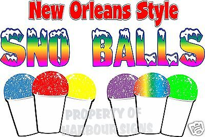 "New Orleans Style Sno Balls Decal 14"" Snow Concession Trailer Food Truck Cart"