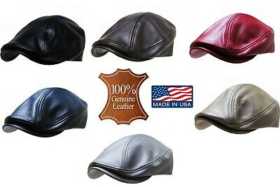 Leather Newsboy Hat (Genuine Leather Flat Ivy Cap Men's Newsboy News Boy Gatsby Bonnet Cabbie)