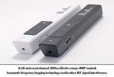 Laser Presenter Pointer Pen Powerpoint Clicker Controller White With Battery