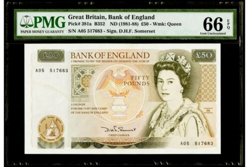 50 Pounds ND (1981-88) Great Britain,Bank of England PMG 66 EPQ Gem Uncirculated