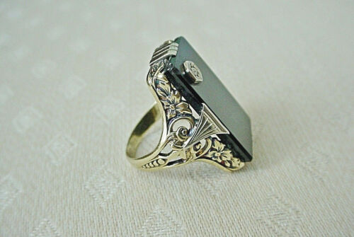 Vintage Art Deco Onyx & Diamond Ring 14k Yellow Gold Size 3.5