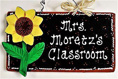 TEACHER Personalize SUNFLOWER Name SIGN Wall Door Hanger Plaque School Classroom - Classroom Door Signs