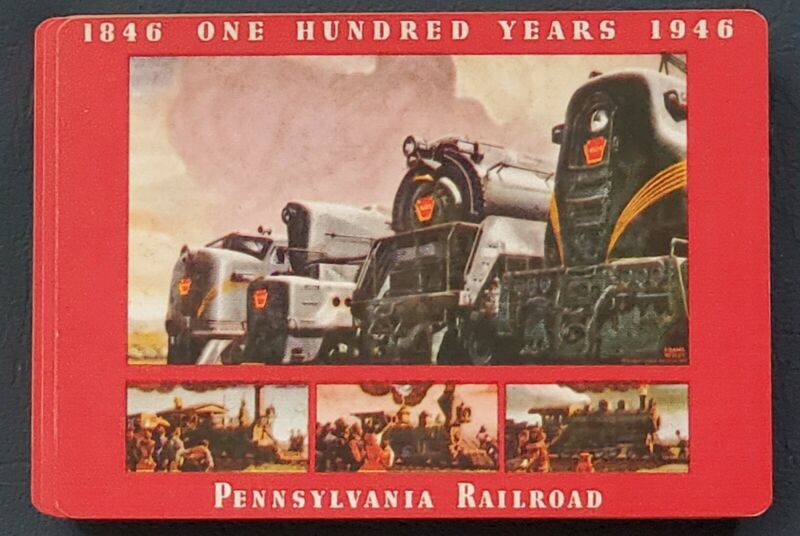 Pennsylvania Railroad Playing Cards 100 year anniversary Deck 1946 opened