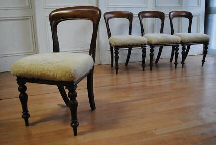 Set 4 Antique Victorian C19th Walnut Spade Back Dining Chairs