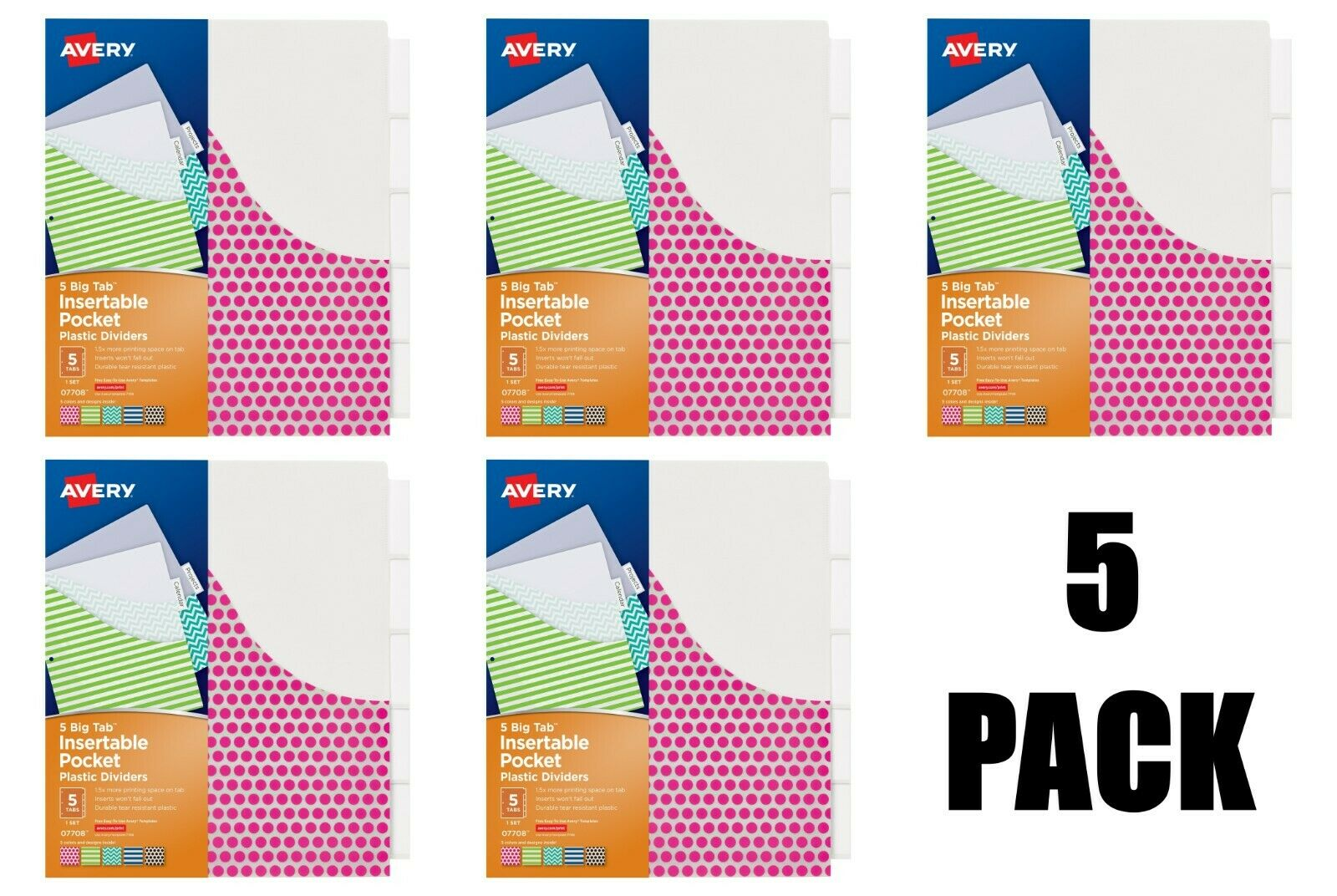 Avery 5-Tab Plastic Binder Dividers with Pockets, Insertable