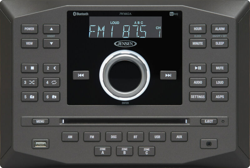 Jensen JWM62A Wall-mount DVD/USB/Bluetooth RV Receiver
