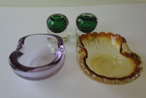 4 Vtg MCM Murano Glass 2 Ashtray Plum Gold Foil 2 Sommerso Candleholder Bubble