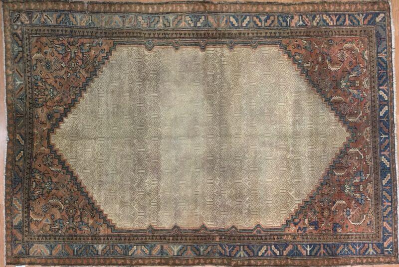 Captivating Camel Hair - 1900s Antique Kurdish Rug - Tribal Carpet 4.6 X 6.7 Ft