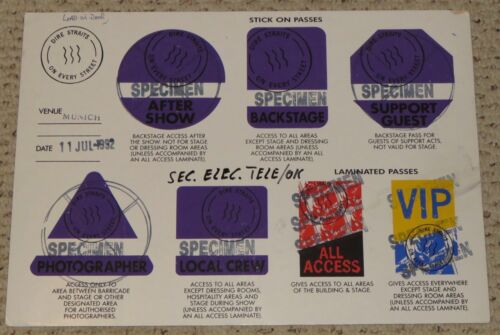 1992 Dire Straits Concert Backstage Pass Poster Chart Munich On Every Street