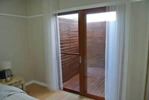 SOLID CEDAR SLIDING DOOR, 2410W x 2100H, 6MM TOUGHENED