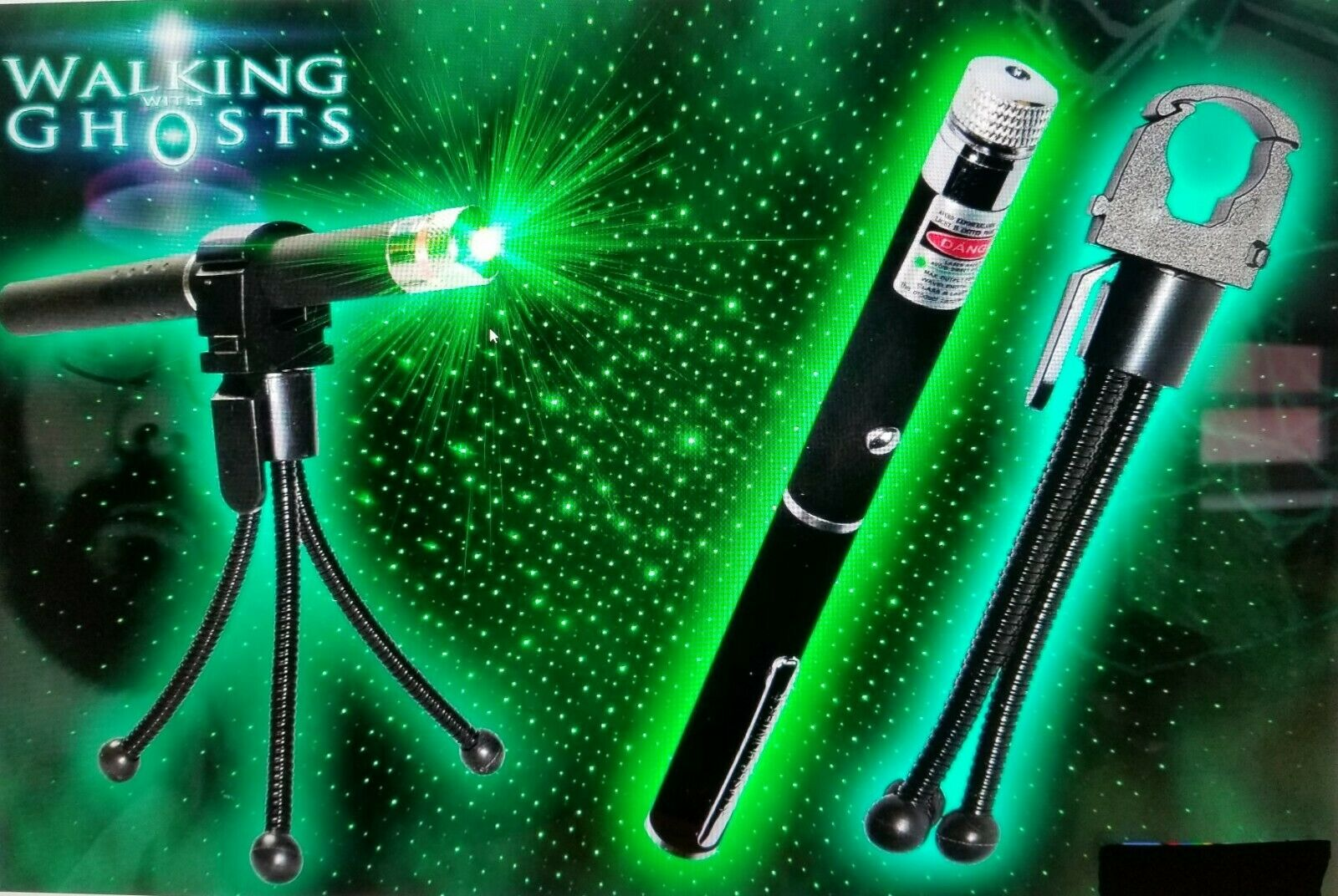PARANORMAL EQUIPMENT 3PC GREEN LASER GRID WITH HOLDER & TRIPOD QUICK SHIP USA