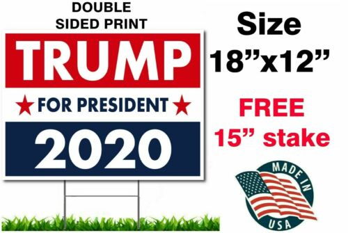 """TRUMP 2020 KEEP AMERICA GREAT 18""""x12"""" YARD SIGN WITH STAKE PENCE WHOLESALE USA"""