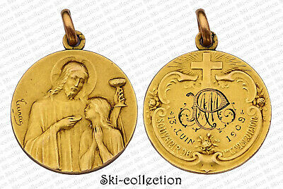 Superb Medal Religieuse- Remember 1° Communion, 13 June 1909. France