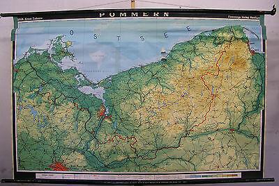 Schulwandkarte Deutsches Reich Deutschland Pommern Stettin Danzig Thorn 195x127