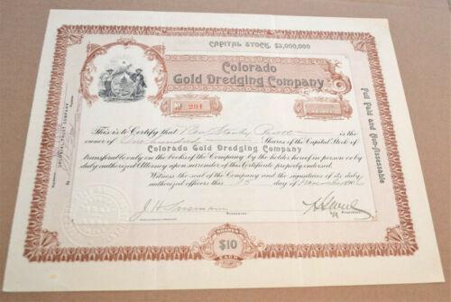 Colorado Gold Dredging Company 1906 antique stock certificate - Breckenridge