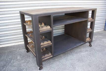 NEW INDUSTRIAL KITCHEN ISLAND BENCH TOP TROLLEY TABLE WINE RACK