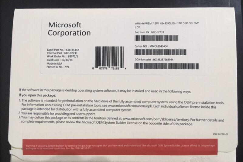 Microsoft Windows 7 Home Premium 64 Bit Full Version| DVD-Product Key [New]