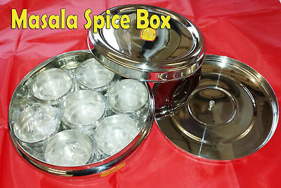 Stainless Steel Indian Spice Tin Box Deep Masala Dabba Spices Box