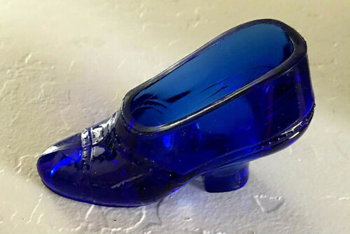 Vintage Cobalt Blue Slipper Shoe by The United States Glass Company