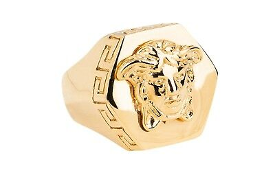 VERSACE MEDUSA RING OCTAGONAL HEAD Gold color metal MADE IN ITALY Size 8