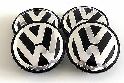 4 PCS 65MM FOR VW VOLKSWAGEN BLK WHEEL CENTER HUB CAPS CHROME LOGO 3B7601171XRW