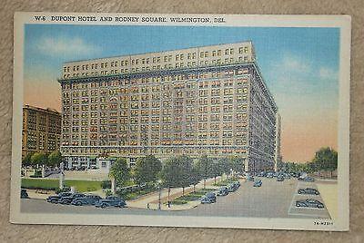 Postcard Vintage Linen - Dupont Hotel Rodney Square Wilmington Delaware - Unsent