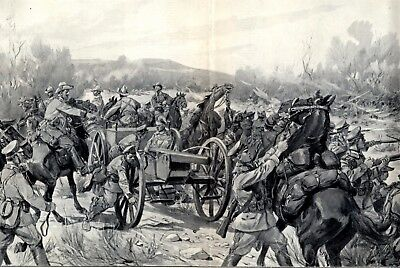 Herero Aufstand Deusch Südwestafrika XXL Kunstdruck 1904 Gefecht Heyde Geschütz