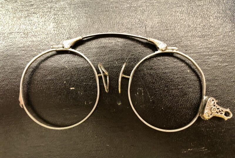 Vintage Pince Nez Eyeglasses, Folding 14K White Gold Spring With Case, Free Shp