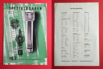 altes Prospekt Blatt BENTRON MÜNCHEN Spezialröhren  ( F14633