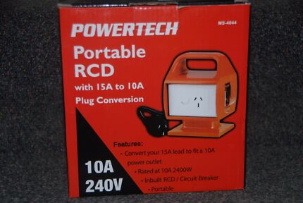 portable RCD 15amp to 10amp