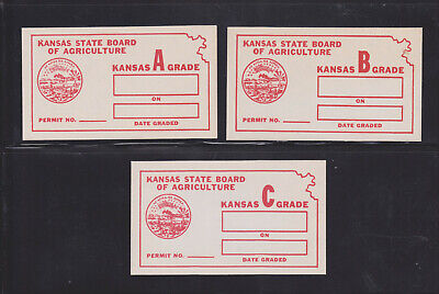 US State Revenues - KS 1937 Egg Inspection - Red Set (Grade A,B,C); E4,E8,E12