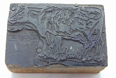 Printing Letterpress Printers Block Dairy Cow In Grass