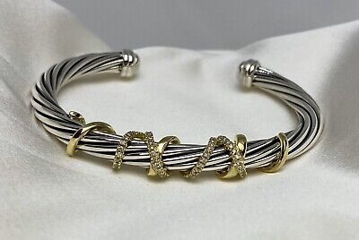 $2,750 David Yurman Helena Center Station Bracelet W 18K Gold & Diamonds S.S 925