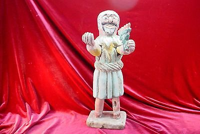 Mexican Bush - Vintage MEXICAN FOLK ART Wood Carved MOSES and the BURNING BUSH Figurine
