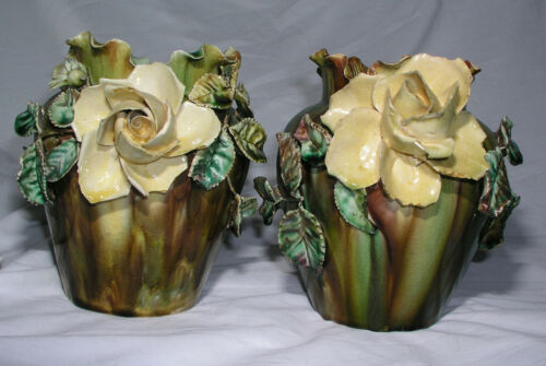 Antique Italian Capodimonte Porcelain Vase Matching Set of 2 3D Roses Flowers