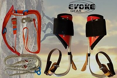 Tree Climbing Spike Set Aluminum Pole Climbing Spurs Harness Kit And Lanyard