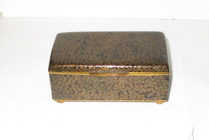 CHINESE CLOISONNE BLACK ENAMEL FLORAL JAR BOX
