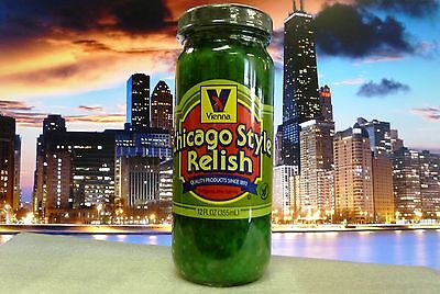 VIENNA BEEF Neon Green Chicago Style Hot Dog Relish, 12-oz Jar, FREE SHIPPING!