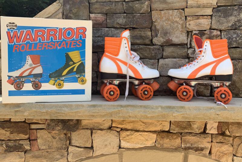 Vtg Marco Polo Warrior Roller Skates Orange and White Retro Roller Derby 7 Box
