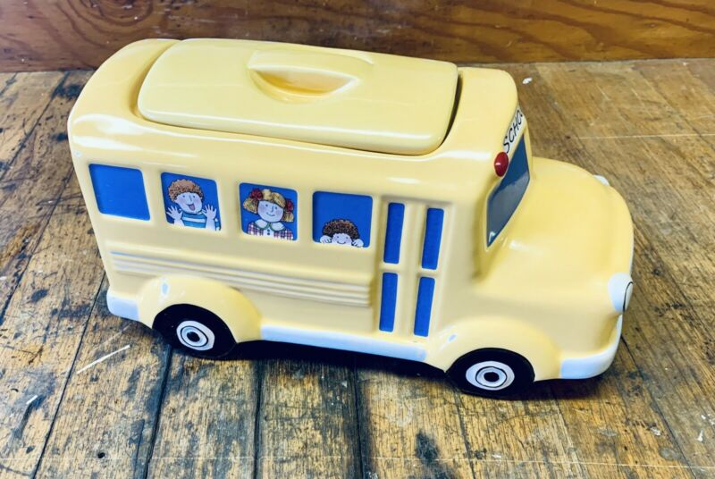 School Bus Cookie Jar Canister Yellow Ceramic Boston Warehouse Trading Co Kids