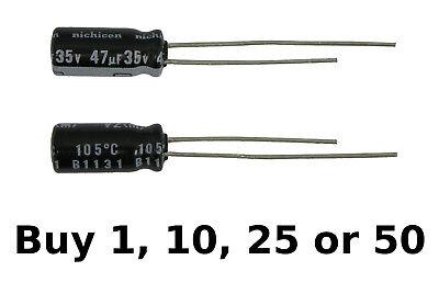 Nichicon 47uf 47ufd 35v Volt 105 Degree Hi Temp Radial Electrolytic Capacitor