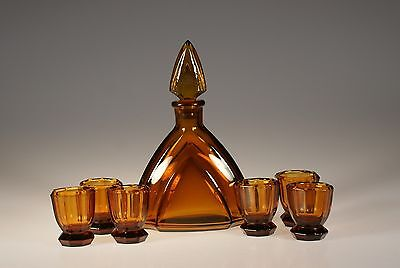 Vintage Amber Deco Czech Glass Complete Decanter Set Geometric c.1930
