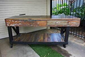RUSTIC TIMBER WORKBENCH KITCHEN ISLAND TROLLEY OUTDOOR TABLE CAFE Brahma Lodge Salisbury Area Preview