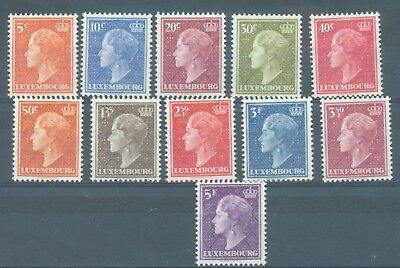 Luxembourg 1948-  Grand Duchess part set 11 values to 5f all MNH