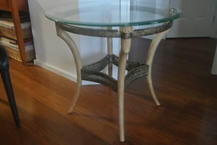 Lamp Table - Glass top Stone legs withdecretive filagree Broadbeach Gold Coast City Preview