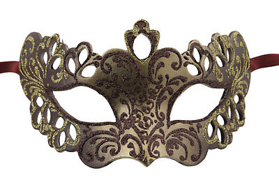 Mask Venice Colombine Brown Golden Gold Embellishment Florale - Paper Mache 2390