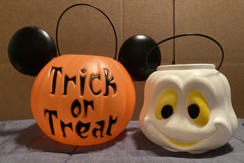 (2) General Foam Plastic-Vintage Blow Mold Pumpkin Pales. Mickey Mouse/ Ghost