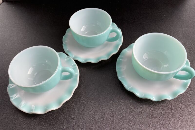 Vintage HAZEL ATLAS RIPPLE CUPS AND SAUCERS {6 PIECES} TURQUOISE